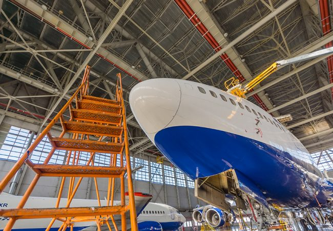 Passenger aircraft in the maintenance hangar